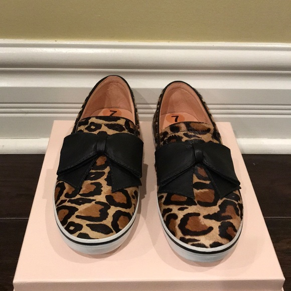 60b621d57157 Kate Spade Leopard Slip-On Flats With Leather Bow